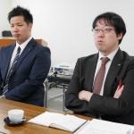 第一倉庫さんにおけるインターンシップ担当を務められた高田主任(右)と藤井さん。