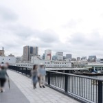 築地大橋から望む築地市場。