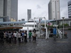 東京港クルーズ出航前の様子。この時は、まだ雨は降っていなかった。