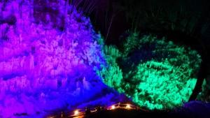 ライトの色は時間とともに移ろい、神秘的な空間を演出します。