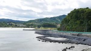 戸倉地区を北側海沿いから望む。津波は、中央にある戸倉中学校(現在は公民館)まで到達した。