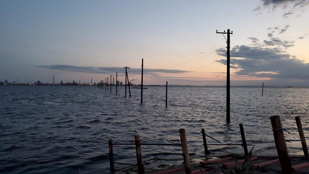 江川海岸の海中電柱。