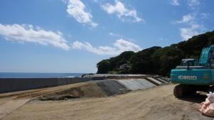 防潮堤が築かれています。